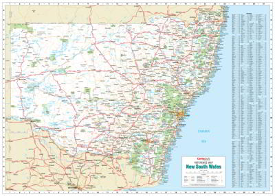 Laminated Wall Maps NSW New South Wales Reference Map Large