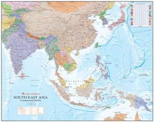 Map Of Southeast Asia Australia And New Zealand.Laminated And Hang Rails Asia Pacific New Zealand South East